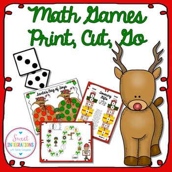 CHRISTMAS ACTIVITIES MATH GAMES - Print, Cut, Go  (Add, Subtract, & Multiply)