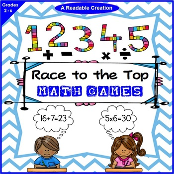 Math Games - 'Race to the Top' {Addition, Subtraction, Mul