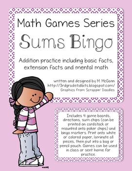 Math Games Series - Sums Bingo