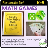 Math Games for families, math night, and early finishers -