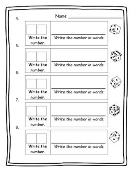 Math Games Two-Digit Numbers Standard Form and Word Form - Math Dice Game