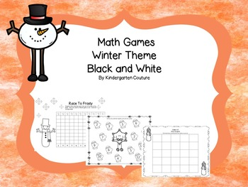 Math Games Winter Theme Black and White (addition, subtraction and counting)
