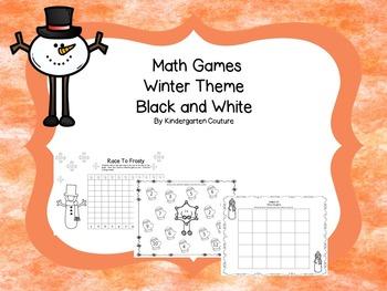 Math Games Winter Theme Black and White (addition, subtrac