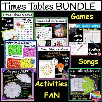 Math Games and Activities Times Tables Multiplication BUNDLE