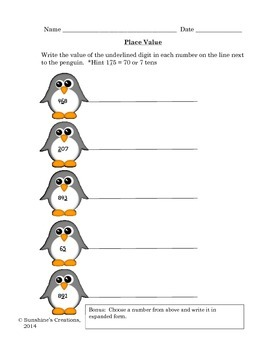 Math Games and Worksheets with Penguins