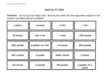 Math Games for Middle School 2 - Balancing Act (Equivalent Weights)