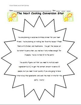 Math Games for Middle School 2 - Cooking Conversion Star (Fractions)