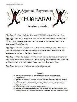 Math Games for Middle School 2 - Eureka! (Algebraic Expressions)