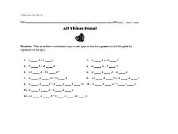 Math Games for Middle School - All Things Equal (Integers)