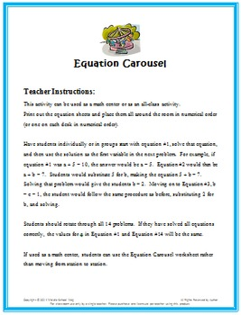 Math Games for Middle School - Equation Carousel (Solving Equations)