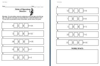 Math Games for Middle School - Order of Operations Detective