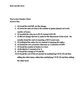 Math Games for Middle School - You're the Teacher Now! (Word Problems)