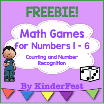 Math Games for Numbers 1 - 6 Counting and Number Recognition - FREEBIE!