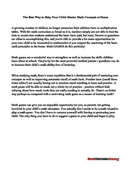 Math Games in a Bag Parent Letter