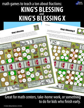 Math Games to Teach a Ton about Fractions:  KING'S BLESSING & KING'S BLESSING X