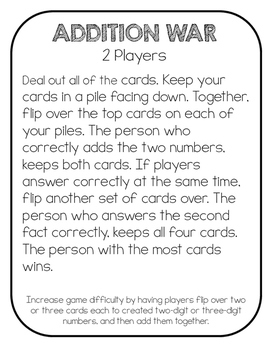 Math Games using Playing Cards