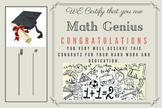 Math Genius Certificate - Template 1