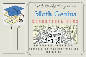 Math Genius Certificate - Template 2