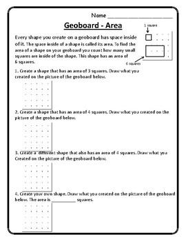 Geoboard Worksheet Geoboard Perimeter and Area Worksheet Geoboard Math Center
