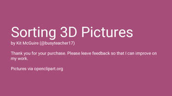 Math Geometry Station - Sorting 3D Pictures