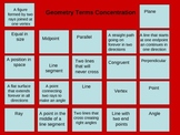 Math Geometry Terms Concentration games and graphic organizers