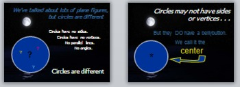 Math Geometry Vocabulary - Circles PPT with Quiz