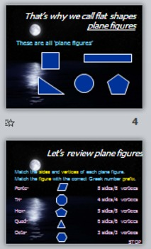 Math Geometry Vocabulary - Plane Figures PPT with Quiz