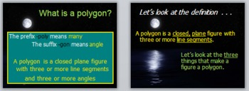 Math Geometry Vocabulary - Polygons PPT with Review Page