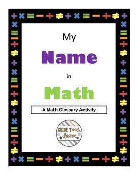 Math Glossary Activity - My Name in Math