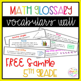 Math Glossary Vocabulary Wall 5th grade FREE SAMPLE