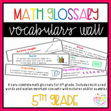 Math Glossary  Vocabulary wall  5th grade - 70 words GROWING FILE