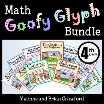 Math Goofy Glyph Bundle - (4th Grade Common Core)
