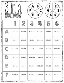 Math Grab and Go Centers: add, subtract, multiply, divide decimals CCSS aligned