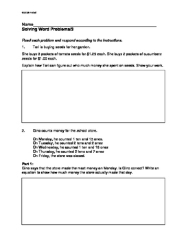 Math Grade 3 - PARCC-like Word Problems: Three Excellent Practice, Review Pages!
