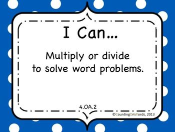 "Math Grade 4: CCSS ""I Can"" posters"