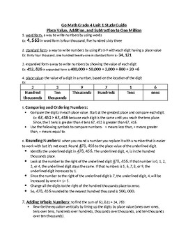 Math Grade 4 Review Sheet Chapter 1-GoMath