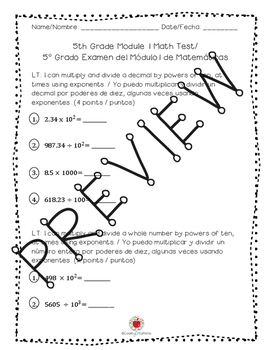 Math Grade 5 Module 1 Learning Target Assessment (SPANISH)