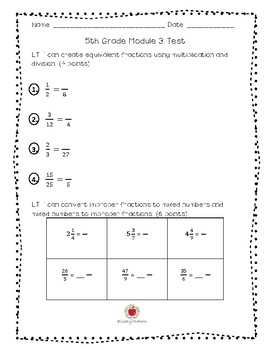 Math Grade 5 Module 3 Assessment/Test (ENGLISH)