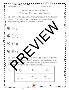 Math Grade 5 Module 3 Learning Target Assessment (BILINGUAL)