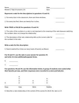 Math Grade 6 Module 1 Topic A Quiz