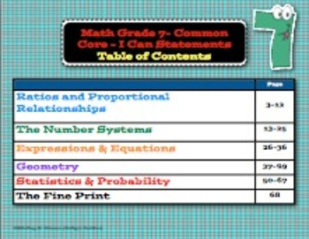 Math Grade 7 Common Core I Can Statements
