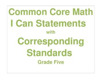 Math Grade Five CCSS I Can Statement Cards
