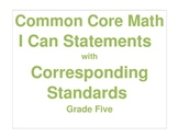 Math Grade Five CCSS I Can Statement Cards