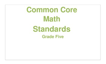 Math Grade Five CCSS Cards Color coded