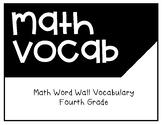 Math Grade Four Word Wall Vocabulary