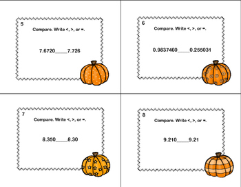 Compare Two Decimals to Thousandths-Using < ,>, or = Task Cards- Pumpkins