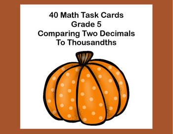 Compare Two Decimals to Thousandths-Using < ,>, or = Task