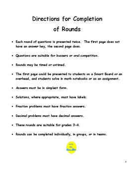 Math Grades 3 & 4 Short Rounds