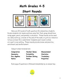 Math Grades 4 & 5 Short Rounds