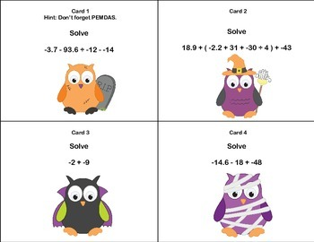 Math Grades 6-7 Order of Operations with Decimals-40 Math Task Cards-Halloween